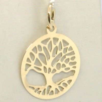 18K YELLOW GOLD TREE OF LIFE ROUND FLAT PENDANT CHARM, 1.0 INCHES MADE IN ITALY