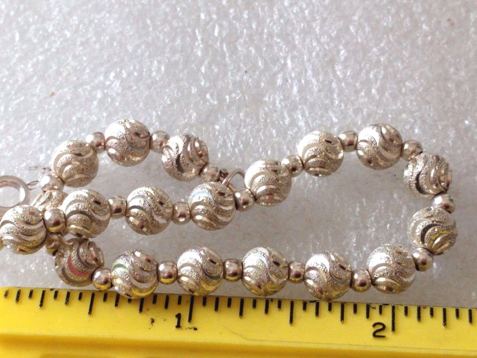 VINTAGE STERLING SILVER TEXTURED BALL BEADS MILOR? BRACELET ITALY