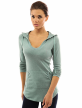 Women's Hoodie Size Large (L) Curve Hem Tunic Top Light Heather Green - $14.54