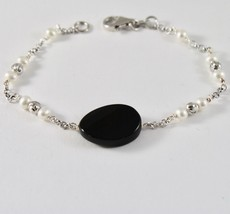 925 Silver Bracelet with Faceted Beads and Pearls and Onyx Faceted image 2