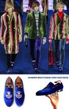 Beautiful Blue Velvet Loafers Dress Shoes Vintage Men's Flats Casual Shoes ! - $194.99