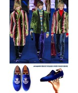 Beautiful Blue Velvet Loafers Dress Shoes Vintage Men's Flats Casual Sho... - $194.99