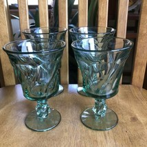 Fostoria Jamestown Green Iced Tea Goblet Sundae Footed Tumblers Set Of 4 - $34.65