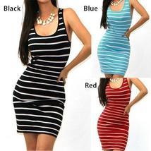 Sexy Women Summer Striped Sleeveless Bodycon Slim Short Mini Dresses