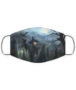 Face Mask Halloween Spooky Pumpkin and Hay Field Scene Scary 2 Ply Light... - $13.95