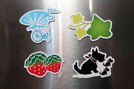 RNV Summer Magnet Set of 4 with Refrigerator Card | Bicycle, Scottish Terrier, S image 5