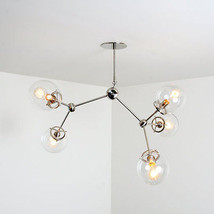 Mid century style modern Chrome brass Light Fixture - 5 Glass Globe Chan... - £437.84 GBP