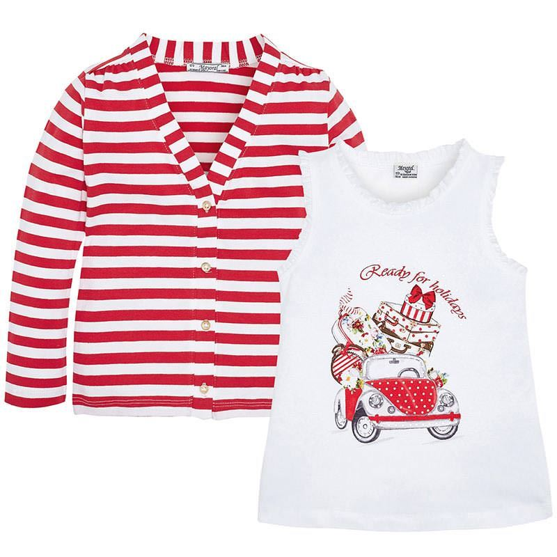 Mayoral Little Girls 2T-9 Graphic Print Tank And Stripe Cardigan Set