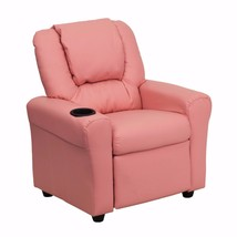 Offex Contemporary Pink Vinyl Kids Recliner with Cup Holder and Headrest - $139.74