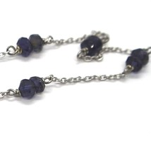 Bracelet White Gold 18K 750 with Iolite Blue, Faceted, Made in Italy image 2