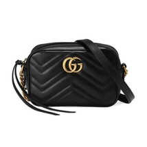 NEW Gucci Black GG Marmont Mini Calfskin Matelasse Camera Shoulder Bag C... - $902.13