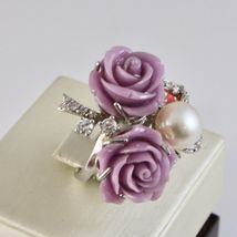 925 Silver Ring Rhodium with Zircon Cubic Roses of Resin and Pearl White image 2