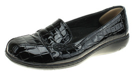 CLARKS COLLECTION Gael Bobtail Women's Black Faux Crocodile Loafers Shoe... - $15.58