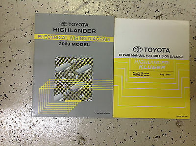Primary image for 2003 Toyota HIGHLANDER Electrical Wiring Diagram & Collision Damage Manual SET