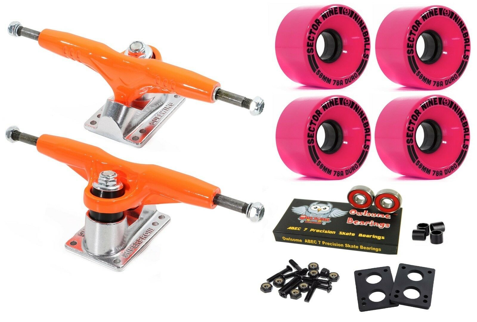 "Primary image for Gullwing Pro III 9"" 155mm Orange Trucks + Sector 9 Nineball 58mm 78a Pink Wheels"