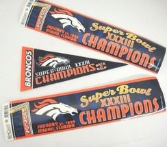 Denver Broncos Super Bowl XXXIII Champions Pennant and 2 Bumper Stickers... - $14.84