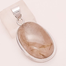 Natural Brazil Golden Rutile Gemstone 925 Sterling Silver Pendant Men's Jewelry - $25.15