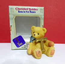 Miniature Cherished Teddies Beta for Bears Greek Alphabet T Tau Mini Figurine - $13.50