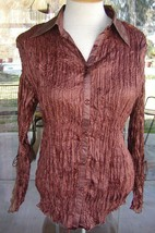 Lace Down Sleeves With Ties & Lace Collar PRETTY ANGEL Silk Blend Blouse Sz. M - $34.64