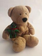 TY Pluffies BEARY MERRY Tan Brown Plush TEDDY BEAR with Green Plaid Bear... - $6.79