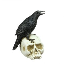"Allstate 9.75"" Spooky Black Crow on Skull Halloween Decoration - £21.05 GBP"