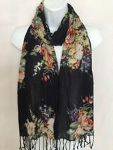 Bouquet of Flowers on Black Scarf Gypsy Bohemian Boho Style Tassels Long... - $16.99