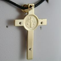 18K YELLOW WHITE GOLD CROSS WITH JESUS & ST SAINT BENEDICT MEDAL MADE IN ITALY image 3