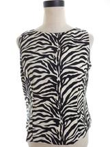 Safari Zebra Print Blouse Petite 10 10P Sleeveless Buttondown back - $16.00