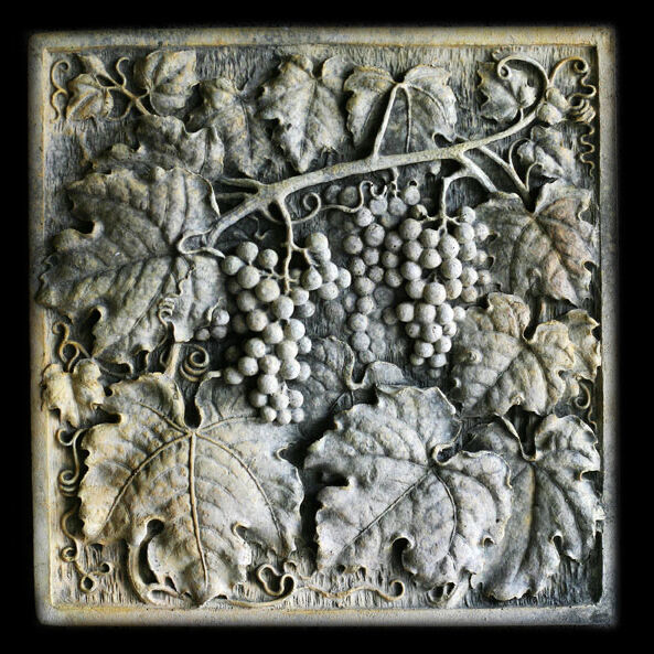Primary image for Grapes square Wall Relief Sculpture Plaque