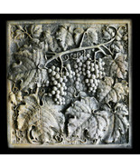Grapes square Wall Relief Sculpture Plaque - $93.06