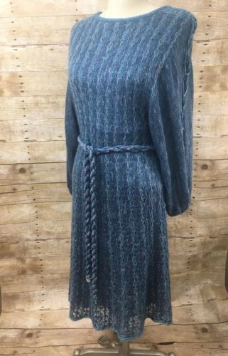 Vtg Blue Purple Gold Sweater Dress with Tie 3/4 Sleeves