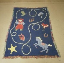 Throwrug for Childs Bedroom Cowboy Scene 66in x 46in - $18.48