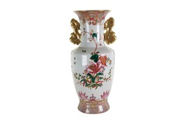 "Beautiful Chinese Floral Motif Porcelain Vase 11"" - $98.99"