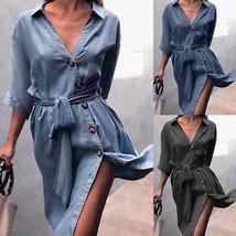 Women Denim Dress VNeck Half Sleeve Belted Split Casual Loose Button Shi... - $26.99