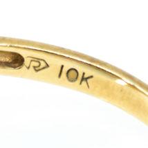 10K Yellow Gold Diamond & Pear Cut Sapphire Gemstone Ring Size 6.25 2.1g image 6