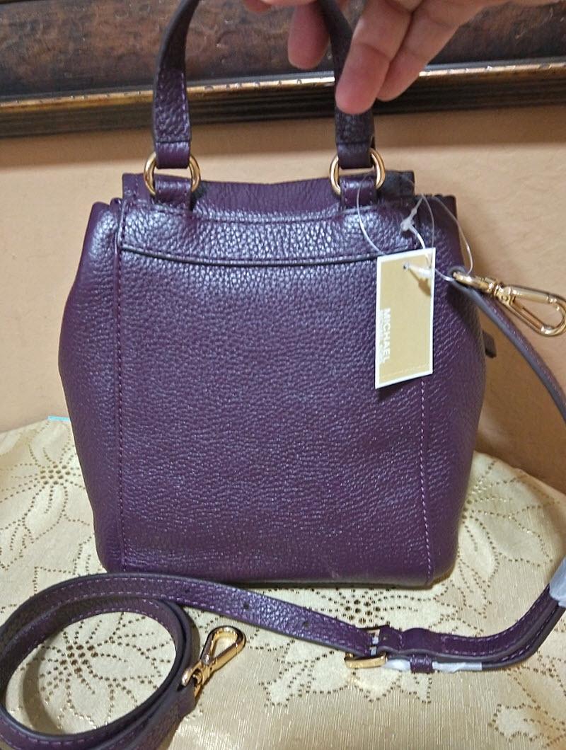 4320eae5cd64 Michael Kors Riley small Leather flap Backpack crossbody purple damson NWT