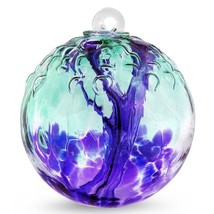 "6"" European Art Glass Spirit Tree Embossed Leaf ""MULBERRY"" Witch Ball Kugel - $42.20"
