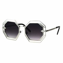 Octagon Shaped Sunglasses Womens Trendy Fashion Double Metal Frame - $12.95