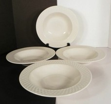 Westerly BASKETWEAVE Rim Soup Bowl (s) LOT OF 4 White Embossed Wicker Pa... - $24.70