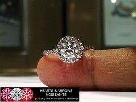 1.50 Carat (DEF) (VVS1) Moissanite Hearts & Arrows Halo Style Ring in 14... - $499.00