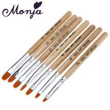 7pcs wooden Nail Art French Acrylic UV Gel Tips Extension Builder Brush Pen - $7.15