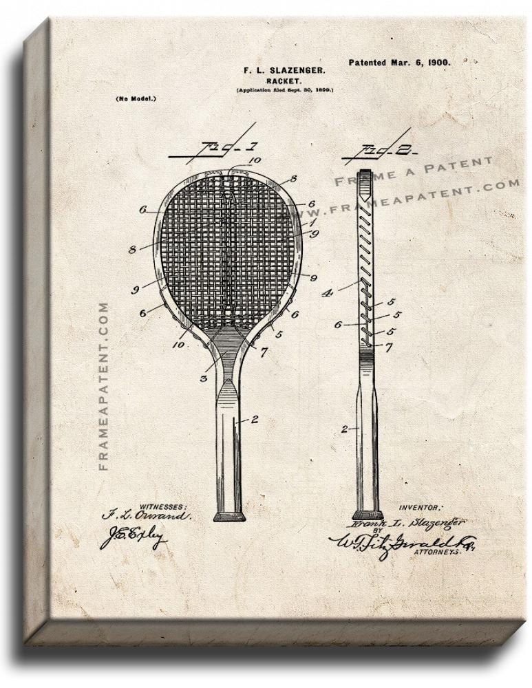 Primary image for Racket Patent Print Old Look on Canvas