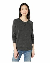 Daily Ritual Women's Supersoft Terry Raglan Sweatshirt, Black-White Stri... - $20.65