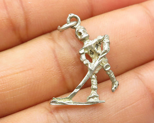 Primary image for 925 Sterling Silver - Vintage Petite Hockey Player Pendant - N1685