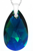 Royal Crystals 'Made with Swarovski Crystals Sterling Silver Green Drop ... - $86.35