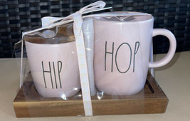 Rae Dunn Pink HIP HOP Cream & Sugar Set with Wooden Lid / Tray LL NEW 7.... - $24.96