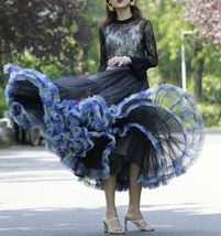 Women Girl Short Ruffle Layered Tulle Skirt Outfit Plus Size Tulle Holiday Skirt image 4