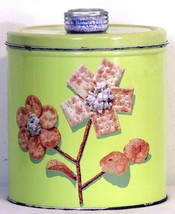Antique Krispy Can Blue Magic Kitchen Storage Canister Yellow Cookie Jar - $12.99