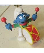 Vintage SMURFS Smurf Drummer Drum mini PVC Figure Christmas Ornament - $19.99