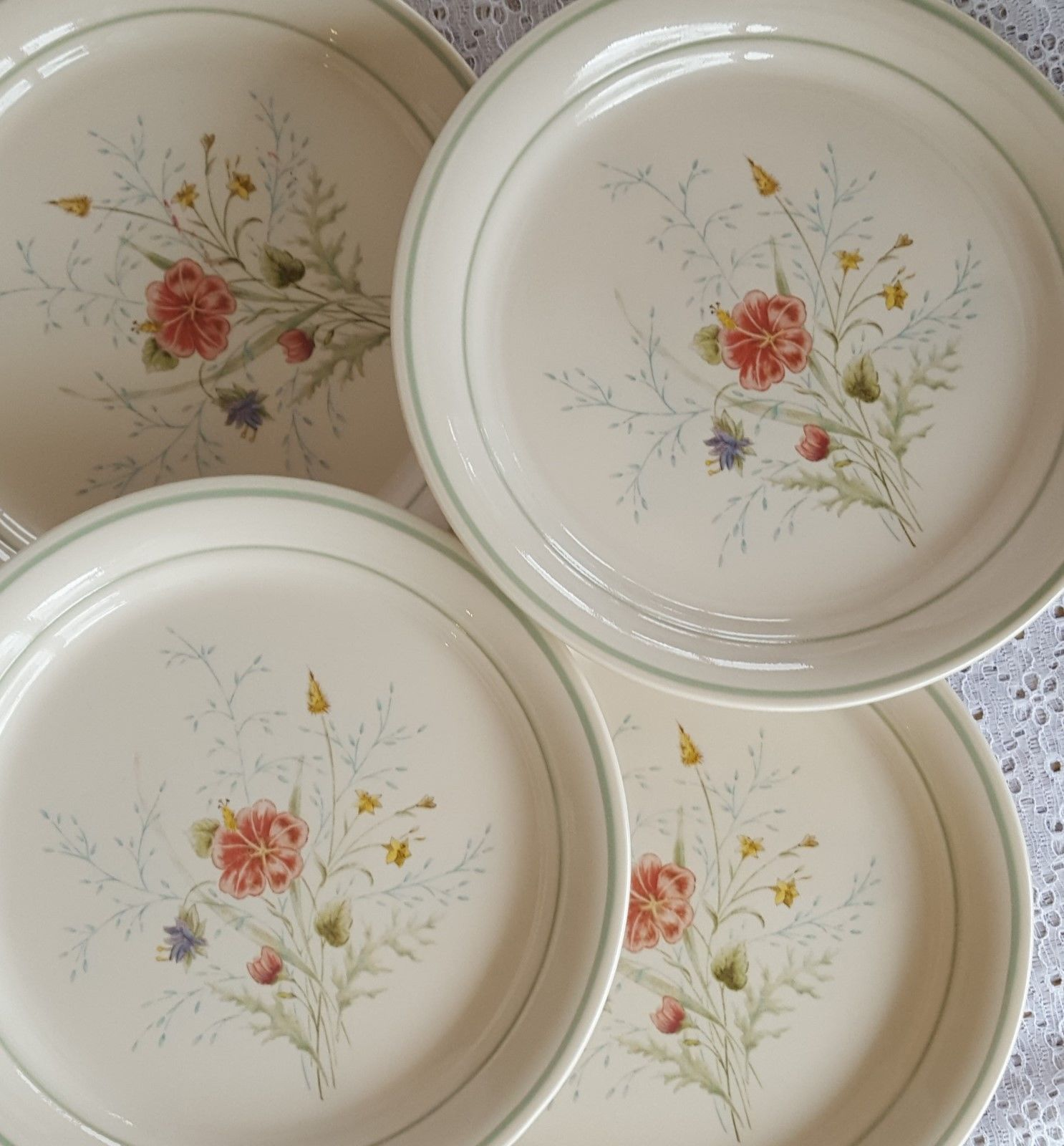 Cornerstone by Corning Corelle SUMMER MIST 8.5  Luncheon Salad Plates Set of 4 : corning dinnerware sets - pezcame.com